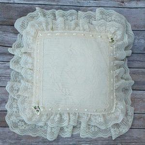 Off White cream lace ruffle pillow roses ribbon